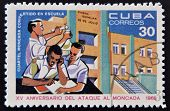 CUBA - CIRCA 1968: Stamp printed in Cuba dedicated to anniversary of the attack on the Moncada Barra