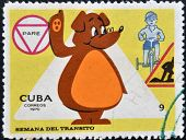 CUBA - CIRCA 1970: A stamp printed in Cubashows illustration for traffic regulations Circa 1970.