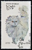OMAN - CIRCA 1973: stamp printed in State of Oman dedicated to cats shows long haired blue cream cir