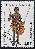 TANZANIA - CIRCA 1993: A stamp printed in Tanzania dedicated to historical african costumes shows ga
