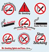 No Smoking Sign Labels and Icons