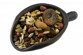 Scoop Of Trail Mix With Nuts, Seeds And Fruits