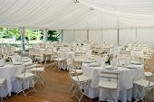 stock photo of marquee  - Wedding Marquee set for a wedding reception - JPG