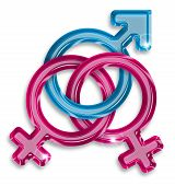 picture of bisexual  - symbol of a love triangle between two women and a man - JPG