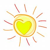 picture of sunburn  - sun and heart in center vector illustration - JPG