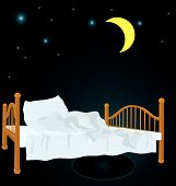 Unmade Bed Under Moon Vector