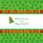 Green christmas card with ribbon