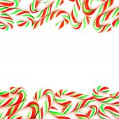 stock photo of candy cane border  - Double edge red and green candy cane border - JPG