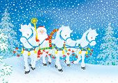 stock photo of troika  - Grandfather Frost drives in his sledge pulled by three white horses through a snowy forest - JPG