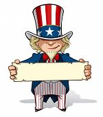 stock photo of uncle  - Clean-cut, overview cartoon illustration of Uncle Sam holding a sign.