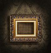 Постер, плакат: Золотая рамка на античный обои