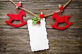 Christmas Card On Wood