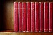 Row Of Old Books On Shelf