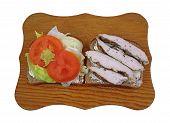 Sliced Lettuce Tomato Chicken On Bread