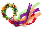 Wreath With Satin Ribbons, Symbol Of National Ukrainian Folk Costume Isolated