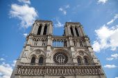 Landmark Gothic Cathedral Notre-dame On Cite Island In Paris France