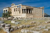 Ancient Temple Erechtheion In Acropolis Athens Greece On Blue Sky Background