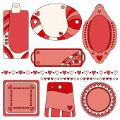 Romantic tag label and trim collection with hearts
