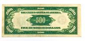 Old Five Hundred Dollar Bill Backside