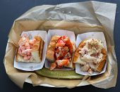 Seafood trio: shrimp roll, lobster roll and crab roll