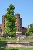 elizabethan tower with fountain