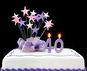 image of birthday-cake  - Fancy cake with number 40 candles - JPG