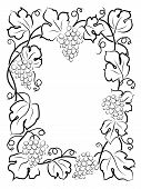 black calligraphy frame wine label vine grapes