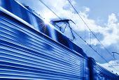 Blue Speed Train In Motion