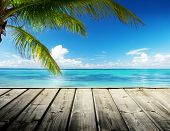 pic of pier a lake  - Caribbean sea and perfect sky - JPG