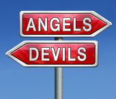 stock photo of hells angels  - angels and devils choice between heaven and hell road sign arrow with text - JPG