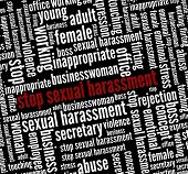 stock photo of inappropriate  - Stop Sexual harassment in word collage - JPG