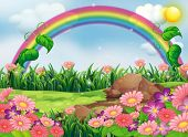 Illustration of an enchanting garden with a rainbow
