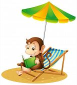 Illustration of a monkey reading a book at the beach on a white background