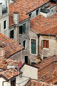 View overlooking tile rooftops in Venice Italy