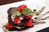 chocolate dessert with strawberry