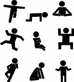 silhouette of men  in various actions