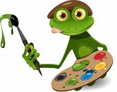 picture of working animal  - illustration green frog artist with palette and brush - JPG