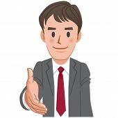 Cartoon Businessman Extending For A Handshake