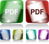 Pdf. Internet buttons. Raster illustration.