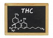 chemical formula of THC on a blackboard