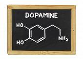 chemical formula of dopamine on a blackboard