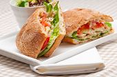 foto of deli  - italian ciabatta panini sandwich with chicken and tomato - JPG
