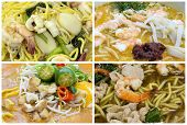 Southeast Asian Singapore Noodles Dishes Collage