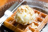 Vanilla Ice Cream Scoop On Waffle