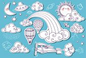 Doodle Elements: Sky, with sun, moon, stars, rainbow and clouds, and including flying saucer, biplan