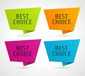 Vector best choice message on speech bubbles labels set.