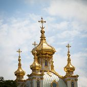 PETERHOF, RUSSIA - JULY 1: Closeup of golden cupola in Summer Gardens, Russia, May 1, 2012 in Peterh