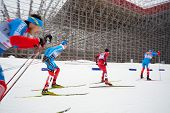 MOSCOW - FEB 9: Group of male skiers during FIS Continental Cup (Estern Europe) ski racing in category of city-event, February 9, 2013, Moscow, Russia.