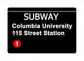 Columbia University 115 Street Station subway sign isolated on white, New York city, U.S.A.
