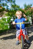 Little Toddler Boy Riding On His Bycicle In Summer